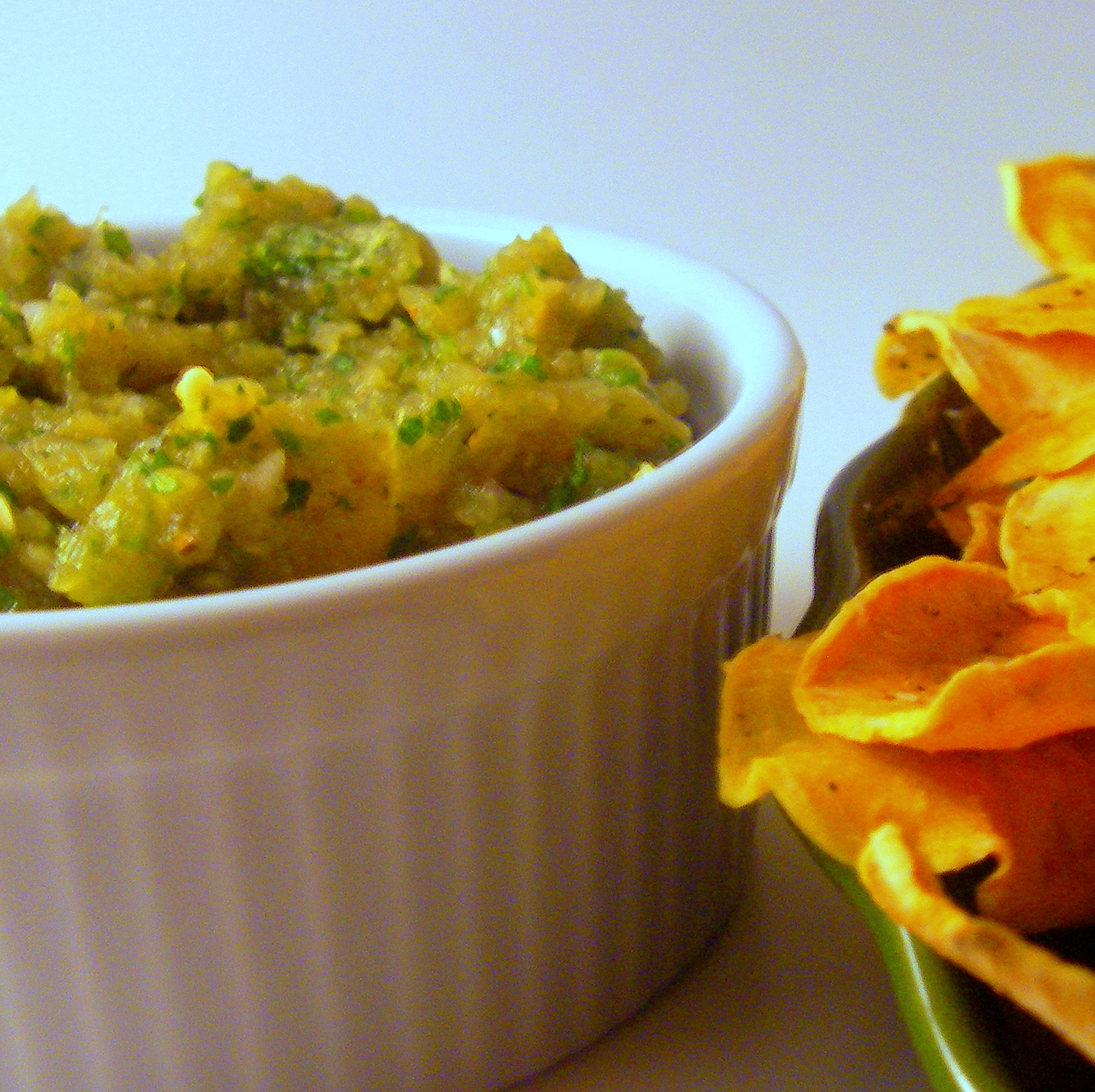 Lao Eggplant Dip with Baked Sweet Potato Chips